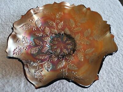 A Vintage Fenton Amber Carnival Glass Holly Bowl With           Ruffled Edge.  • 30£