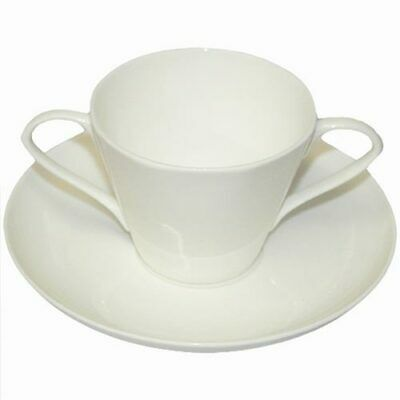 Two Handled Bone China Cup And Saucer - White • 11.70£