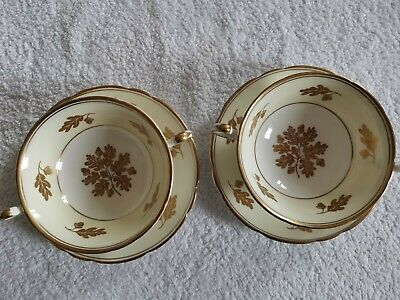 Two Foley Bone China Soup Bowls And Plates/Acorn Pattern/gold Edge Gilding.  • 12£