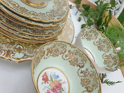 Paragon Gold And Mint Teaset • 190£