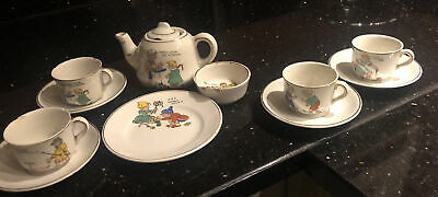 Vintage Child's Tea Set Ceramic Nursery Rhymes Simple Simon Little Jumping Joan • 0.99£