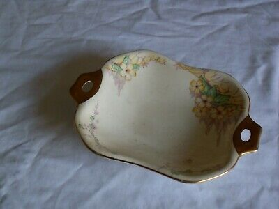 Roslyn China  Small Shallow Dish With Floral Pattern And Gilded Handles . • 12£