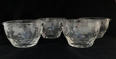 Four Beautiful Georgian Heavy Wine Rinsers With Etched Vine Design • 75£