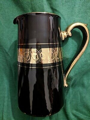 Gibson & Sons Late Sevres Davenport Milk Water Jug Black And Gold 14.5cm Tall • 11.99£