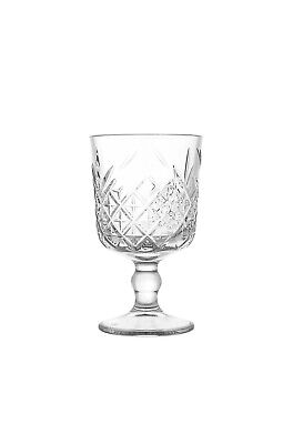 Timeless Set Of Four Wine Goblet Patterned Glasses By Pasabahce • 8£