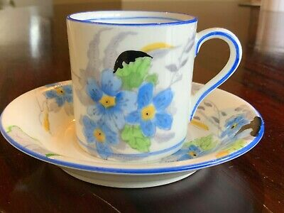 Lovely Antique Sutherland China Blue Floral Coffee Can And Saucer • 14£