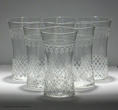Matched Set Of 6 Pall Mall/Lady Hamilton Pattern Small Water Glasses, Etched/cut • 42£
