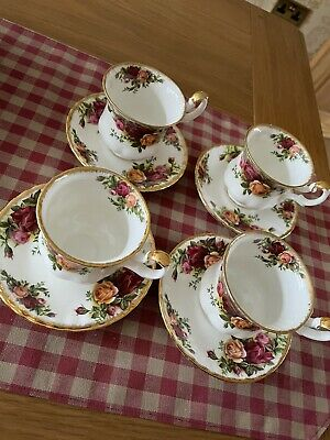 Royal Albert Old Country Roses 4 Small Tea Coffee Cups & Saucers See Description • 18£