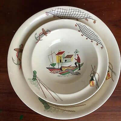 Alfred Meakin Rare Brixham Serving Bowl & 6 Dishes Excellent Condition Fishermen • 39.99£