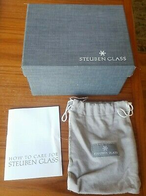 """Empty Steuben Glass Box Pouch & How To Care 7 1/4""""x5 3/4""""x4 1/4"""" Grey Box Only  • 13.16£"""