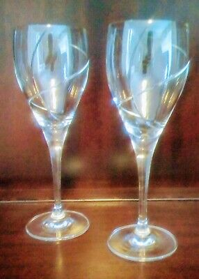 Pair Of Royal Brierley Crystal Goblets, Swirl Pattern, Signed To Base • 30£