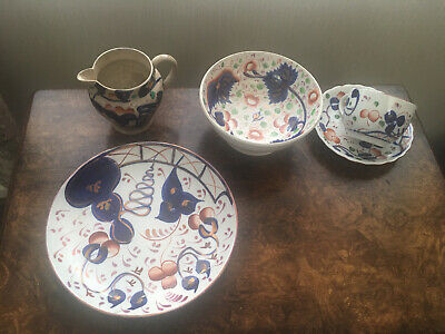 Gaudy Welsh Victorian Bowl And Cup And Saucer • 21£