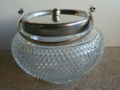 Vintage Hobnail Cut Glass Biscuit Barrel With Silver Plated Lid & Handle • 12.49£