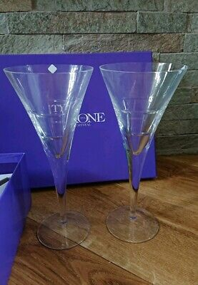 NEW Tyrone Crystal Irish Cubis Goblets Tall Glasses Boxed Rare Wedding Gift  • 49.50£