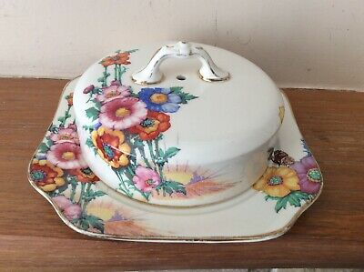 Vintage Art Deco Keeling & Co  Losol Ware 'Hampton' Covered Butter Dish In VGC • 12.95£