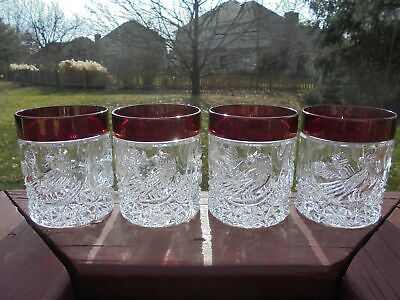 4 Hofbauer Byrdes Ruby Red Flashed Double Old Fashioned Tumblers 3 3/4  • 95.08£