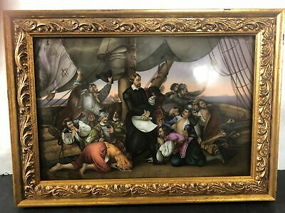 19th Cent. Columbus Discovers Shores Of America Porcelain Plaque Hand Painted • 912.20£