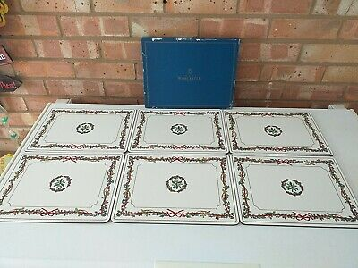 Royal Worcester Rectangle Placemats Holly Ribbons More Available Made In England • 50£