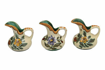 3 X Small Royal Gouda Jugs / Vases Dutch Pottery Floral Designs • 19.95£