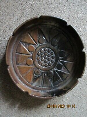 Large (25cm Diam) Vintage  Brown American Art Pottery Pottery Craft Ashtray/dish • 2.49£