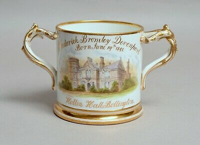 Top Quality Antique English Porcelain Cup Hollin Hall Bollington & Macclesfield • 45£