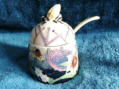 Old Tupton Ware Honey Pot & Spoon. Summer Bouquet. Original Fitted Box, Unused, • 21£
