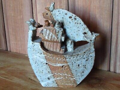 Vintage Studio Art Pottery Bryan Newman Stoneware Sculpture Boat With Birds • 18.99£