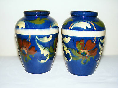 Watcombe Torquay  Devon  Decorated  High  Gloss  Pair  Blue  Vases  Height 5  • 39.97£