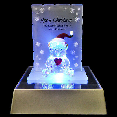 Merry Christmas Bear Figurine Glass Crystal Ornaments Gift Set Xmas & Led Light • 8.95£