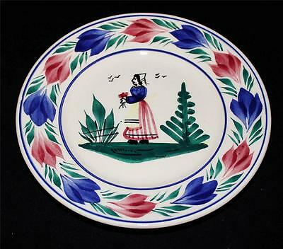 Henriot Quimper Bread & Butter Plate, 6 1/2 , Woman Or Lady Center, Faience • 29.25£