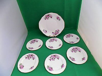 Queen Anne Pink Roses Cake Plate And 6 X Side Plates • 19.90£