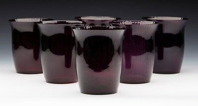 Fine Vintage Set Six Amethyst Glass Ribbed Design Tumblers 20th C. • 390£