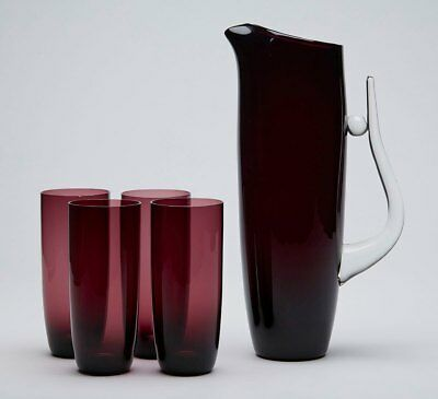 Contemporary Art Amethyst Jug And Glasses 20th C. • 250£