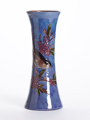 William Baron Tall Art Pottery Bird Trumpet Vase C.1900 • 320£