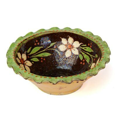 Antique Slipware Floral Decorated Pottery Bowl 19/20th C. • 580£