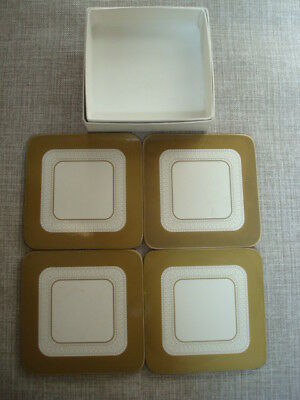 Boots Imperial Gold Cork Backed Coasters X 4 - Excellent • 5£