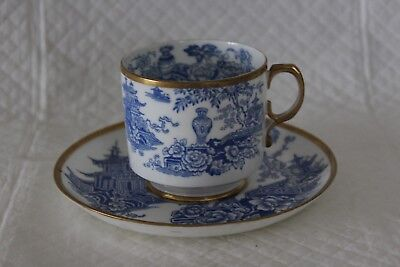 Early George Jones 5913 Impressed Crescent Mark Blue & White Willow Cup & Saucer • 25£