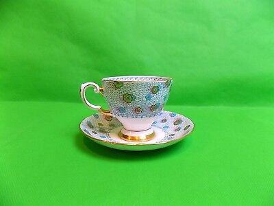 Tuscan Fine Bone China Hand Painted Peacock Feathers Tea Cup & Saucer • 20£