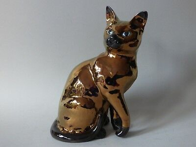 Rare Large Collectable Fireside Vintage Beswick Copper Lustre Siamese Cat Kitten • 278.79£