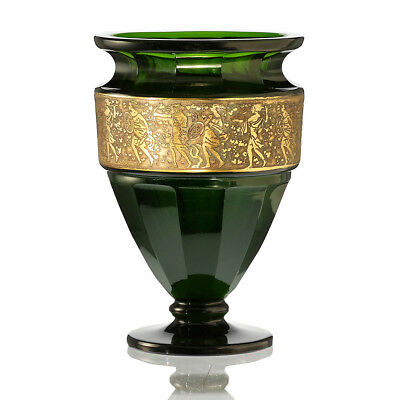 C.1920 Moser Emerald Facet Cut Crystal Vase With Oroplastic Frieze • 750£