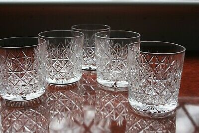 5 Thomas Webb Crystal  Wellington  Whisky Tumblers Super Condition 3  Tall • 70£