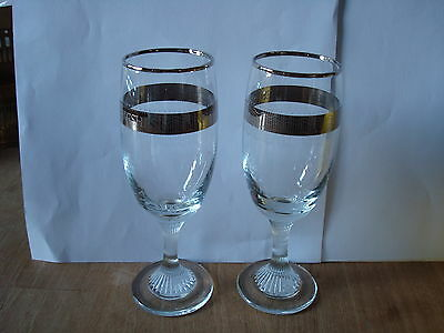 A Pair Of Clear Fluted Glasses 'best Wishes' For Silver Wedding Approx. 6  Tall • 9£