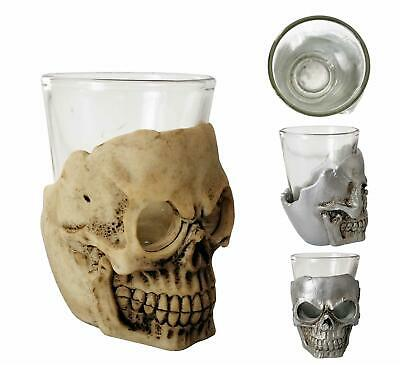 Silver Or Bone Pirate Doom Cocktail Ghoulish Skull Shot Glass Set • 4.99£
