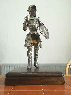 Knight In Shining Armor On Base. Hand Built. Metal, Wood An Silk. Decorative.  • 80£