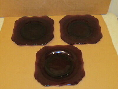 Antique 3 Amethyst Imperial ?? Salad Lunch Plates VFC • 7.92£