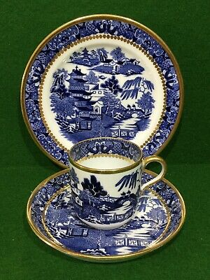 Antique Davenport Blue & White China Willow Pattern Cup, Saucer & Plate  • 34.50£