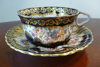Victorian Crown Staffordshire Cup And Saucer - Cobalt Blue/Gilt & Floral Pattern • 54.99£