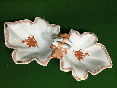 Herend Hungary Porcelain Chinese Boquet Rust Handled Dish • 149.50£