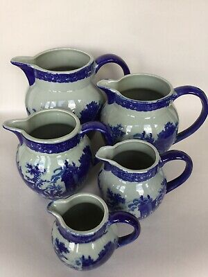 Vintage Blue & White China Flow Blue 5 X Graduated Jugs • 69.50£