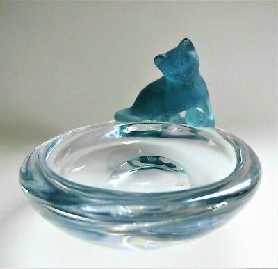 Signed Daum French Studio Glass Cat With Ball Trinket Jewellery Dish  • 195£